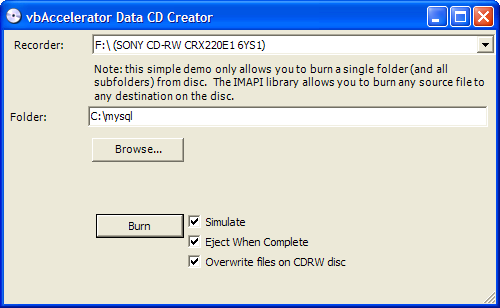 Simple Data CD Creator Application