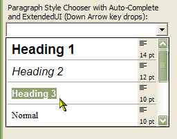 Combo Box in Paragraph Style Chooser Mode