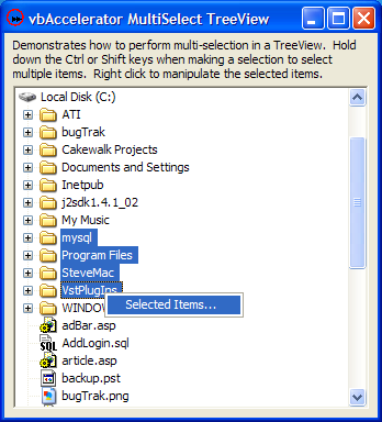 Multi-Select TreeView Demonstration
