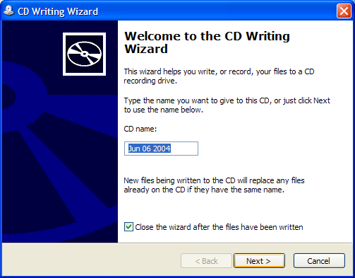 Windows XP Standard CD Writing Wizard