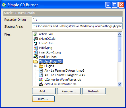 Simple CD Burner Demonstration Application.
