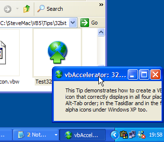 Sample Application Running under XP